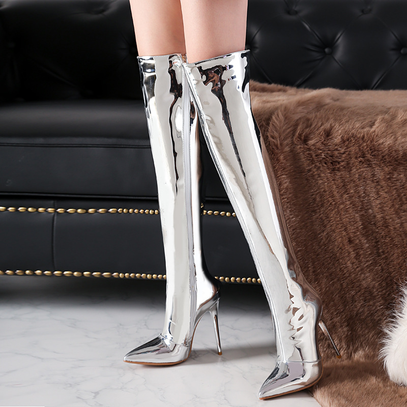 Patent Leather Over The Knee Boots Sexy Women Pointed Toe Thigh High Boots Winter Warm Woman Thin Heel High Heel Shoes WB-1403 цена