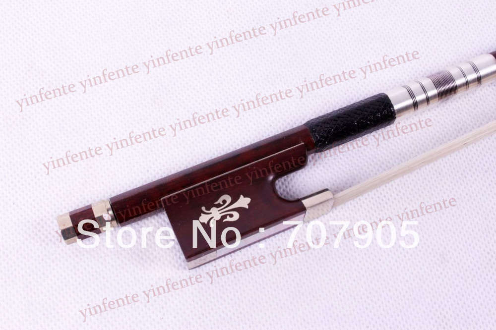 New 4/4 Violin Bow get quality SnakeWood Bow string Silver Color Flower inlaid  Pattern handmade new solid maple wood brown acoustic violin violino 4 4 electric violin case bow included