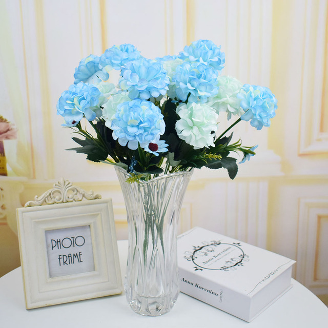 Silk Hydrangea artificial flowers bouquets for home wedding table garden Christmas decoration white blue pink purple fake flower