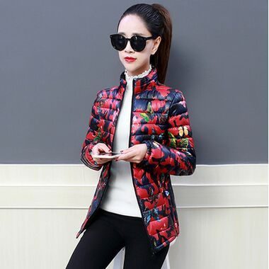2018 Winter Jacket women Plus Size Womens Parkas Thicken Outerwear  flower print Coats Short Female Slim Cotton basic tops 5