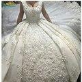 luxury Ball gown Wedding Dresses Square Collar flowers Chapel long train Cap sleeve Vestido noiva Wedding Gowns Robe de mariage