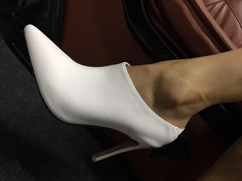 Mujer Sexy blanco nudo Alto Zapatos De Fiesta Tacón Etapa Blanco Señoras Talón Diseño Nuevo Leopard Bombas rojo Punta Mariposa Cuero xw7qXcgFW