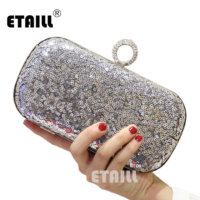 09d7ecca478 ETAILL Glitter Sparkling Vrouwen Clutch Tassen Pailletten Kralen Ketting  Mini Handtassen Bridal Purse Luxe Party Avondtasje