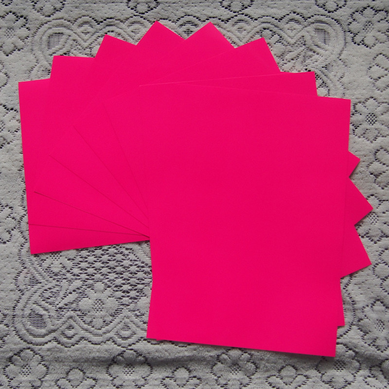 (A4*8pcs) Neon Pink Color Only PU Flex Vinyl Paper PU Heat Transfer Vinyl Film For T Shirts Iron On Vinyl For Heat Press 611