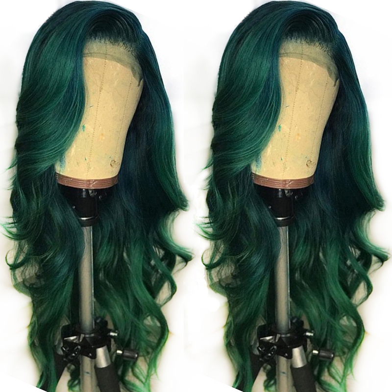 Green Colored 13x6 Lace Front Human Hair Wigs Frontal Preplucked Body Wave Brazilian Remy Full Ends