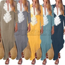 CUERLY 2019 Women Paisley Long Sleeve Maxi Dress Baggy Cotton Linen Kaftan Loose Abaya Jilbab Muslim Dresses Autumn