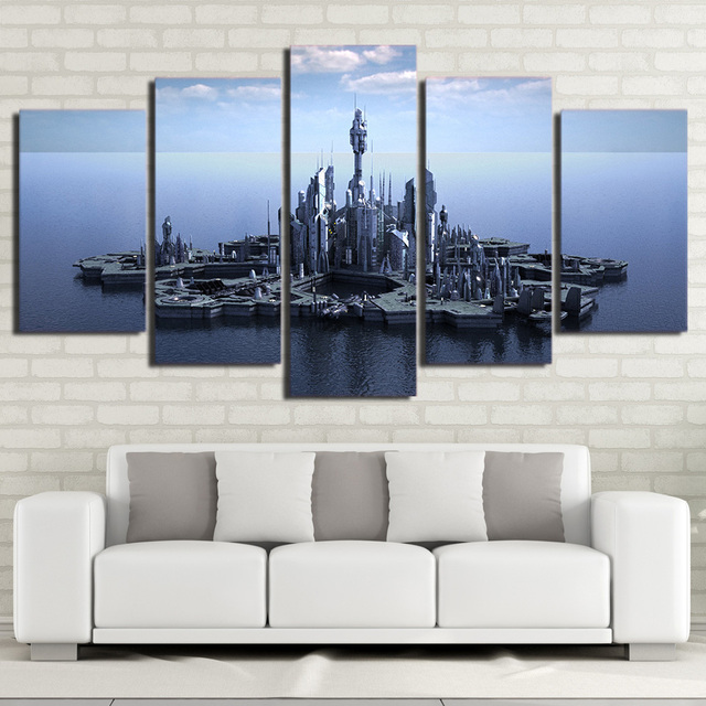 hd printed 5 piece canvas art stargate atlantis canvas prints wall rh aliexpress com living room canvas wall art canvas art painting for living room