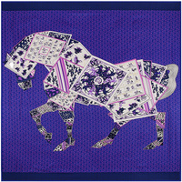 Women S Twill Silk Scarves European And American Style Poker Horse Pattern Female Shawl New 2016