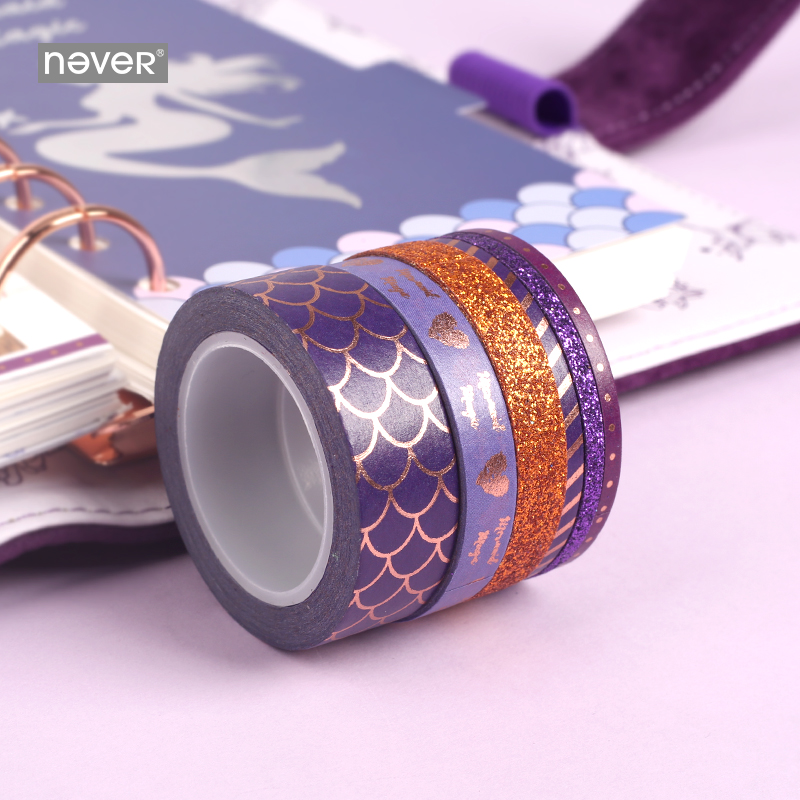 Never Mermaid Series Washi Paper Tape Set Planner Scrapbooking Decorative Masking Tape School Diary Accessories Gift Stationery