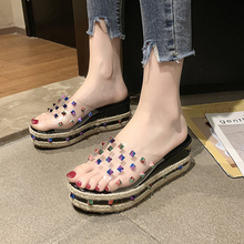Women Sandals And Slippers Female Outer Wear Fashion Korean-Style Rivet Transparent Platform Wedge Slipper A52