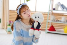 small cute plush teddy dog toy creative white dog doll with clothes gift about 33cm
