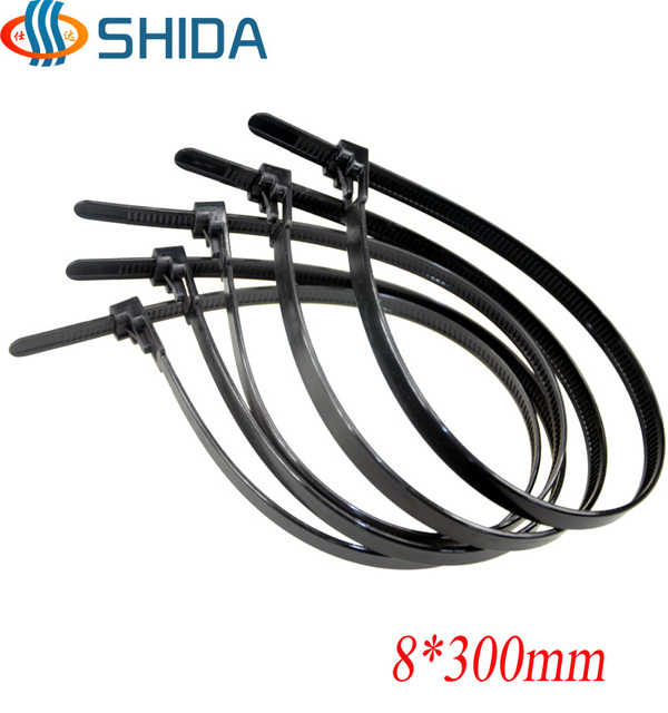 100pcs 8*300mm Releasable Plastic Nylon Zip Ties, Black And White Wire  Organizer Cable