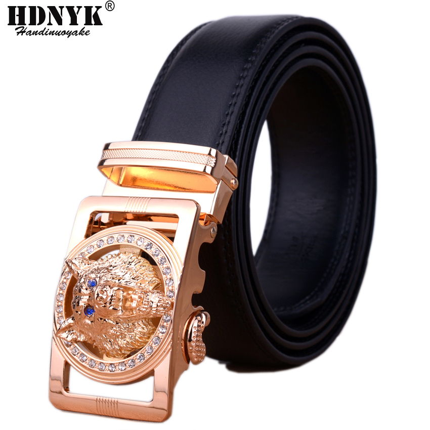 741277a2d50 Loup tête boucle ceinture pour hommes de luxe de haute qualité en cuir  véritable 2018 marque Designer automatique boucle ceinture hommes offre  spéciale dans ...
