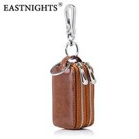 EASTNIGHTS Car Key Holder Organizer Genuine Leather Key Case Men Keychain Coin Wallet Women Key Bag with Zipper TW2908