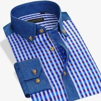 Hot Sale Summer Autumn Dress Shirts Men Square Collar Long Sleeve Plaid Slim Fit 100 Cotton
