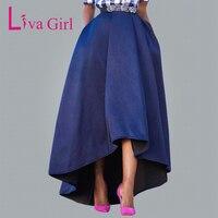 Liva Girl Autumn Winter Thicken Warm A Line Skirt Hem Asymmetric High Low Women Maxi Skirts