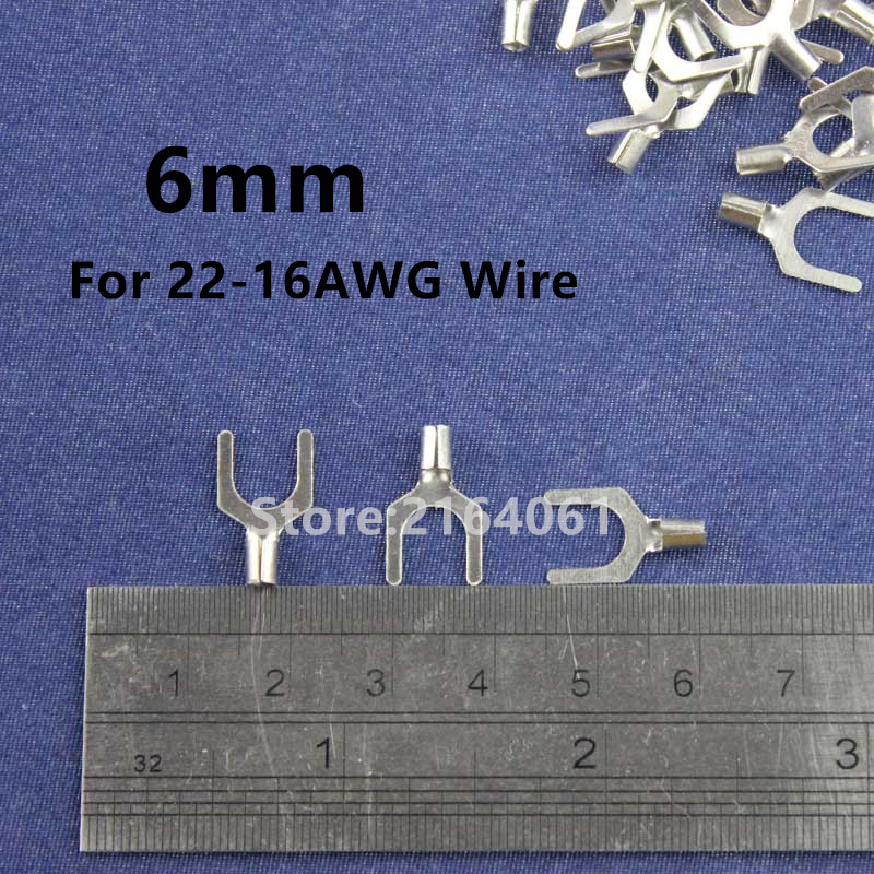 200Pcs 6mm Cold naked terminal Non-Insulated Fork Y-type Terminals Cable Wire Connector Crimp Spade for 22-16AWG 2018 new famous architecture series the french arc de triomphe 3d model building blocks classic toys gift