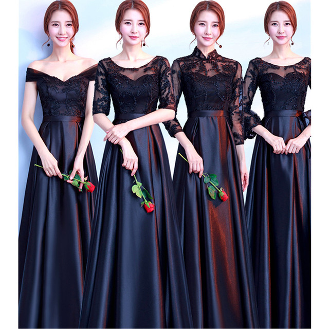 Vestido De Noiva New Black Bridesmaid Dresses Long Satin Lace Half