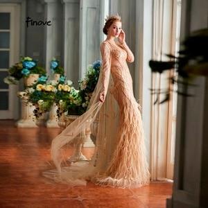 Image 4 - Finove vestidos de noche para mujer, novedad de 2020, elegantes vestidos de sirena champán de lujo con plumas y abalorios, longitud hasta el suelo, vestidos de fiesta para mujer