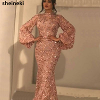 Shiny Rose Gold High Neck Lace Mermaid Evening Dresses Long Sleeves Appliques Evening Gowns Floor Length Mother of Bride Dress