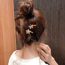 Korean Summer Side Bangs Small Alligator Clip Sweet Rainbow Imitation Crystal Beaded Flower Hairgrip Women Girl Styling Barrette