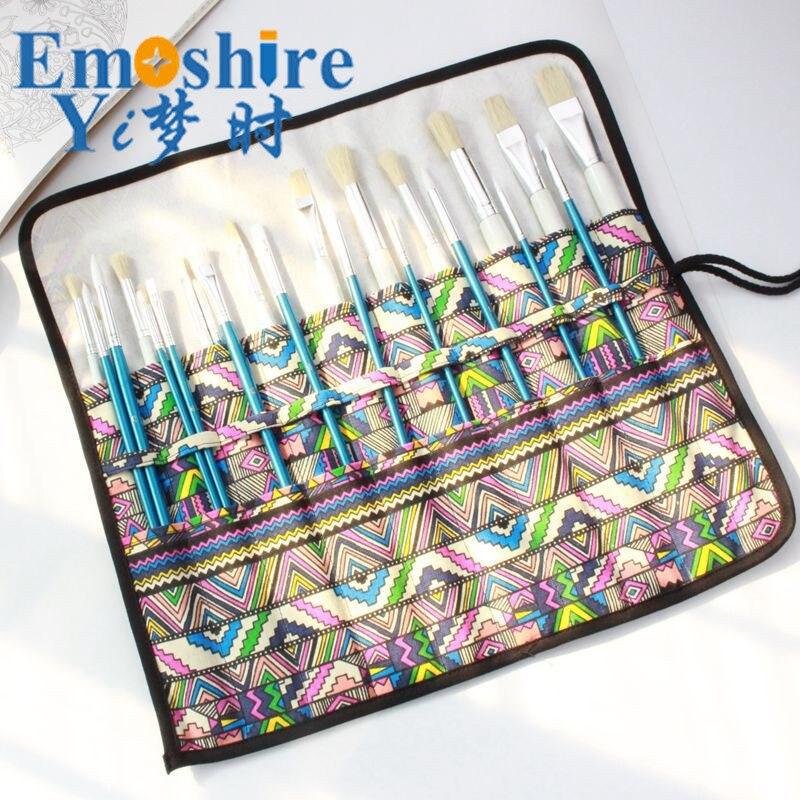 2018 New Handmade Pencil Case Canvas Edge Brush Pen Bag Watercolor Chalk Brush Special Storage Pen Bag for Students Hot B248 цена