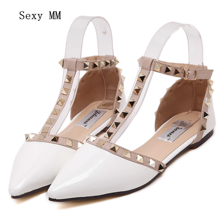Summer Casual Sandals Women Pointed Toe Rivet Flat Bottom Shoes Women Slip On Valentine Flats Zapatos Mujer sweet women high quality bowtie pointed toe flock flat shoes women casual summer ladies slip on casual zapatos mujer bt123