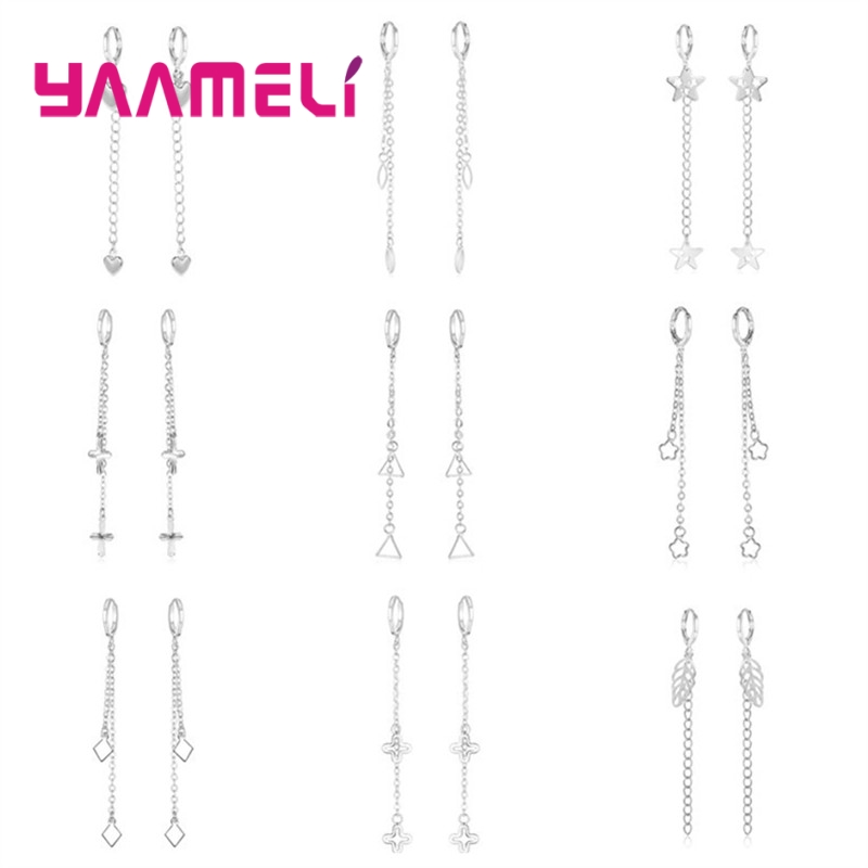 Top Quality Pure 925 Sterling Silver Long Stylish Metal Earrings for Women Girls Gifts Shining Original Silver Fine Ear Jewelry