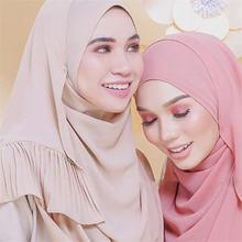 70*185 см мусульманский женский шарф шифоновый гофрированный