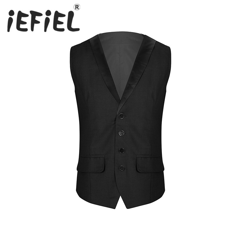 Mens Formal Vest Lapel Collar V-Neck Sleeveless Single-Breasted Solid Color Slim Fit Business Suit Vest Waistcoat for Wedding