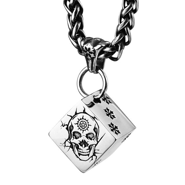 STAINLESS STEEL SKULL DICE NECKLACE (2 VARIAN)