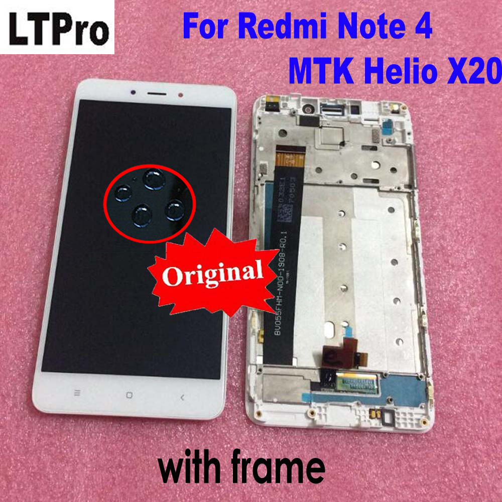 Original Best Quality Sensor LCD Display Touch Screen Digitizer Assembly + Frame For Xiaomi Redmi Note 4 MTK Helio X20 version