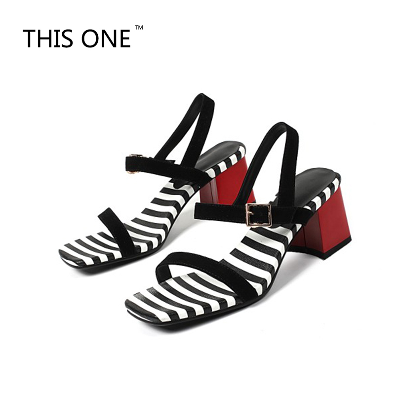 THIS ONE Sexy Summer Gladiator Women High heels Sandals Suede Leather Zebra Striped Chunky Heels Shoes New 2018 Ladies Shoes women pu leather black snake print sandals sexy gladiator high heels lace up summer shoes chunky heels platform ladies pumps