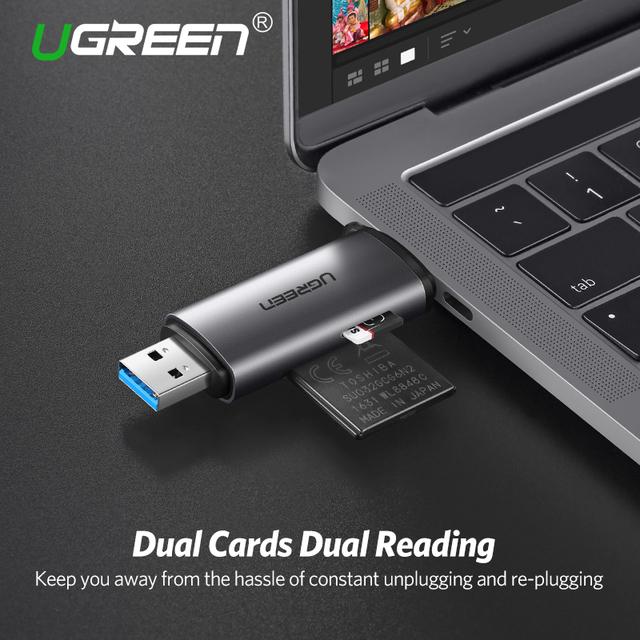 Ugreen Card Reader  USB 3.0 SD/Micro SD TF OTG   Smart Memory Card Adapter for Laptop USB 3.0 Type C Cardreader SD Card Reader