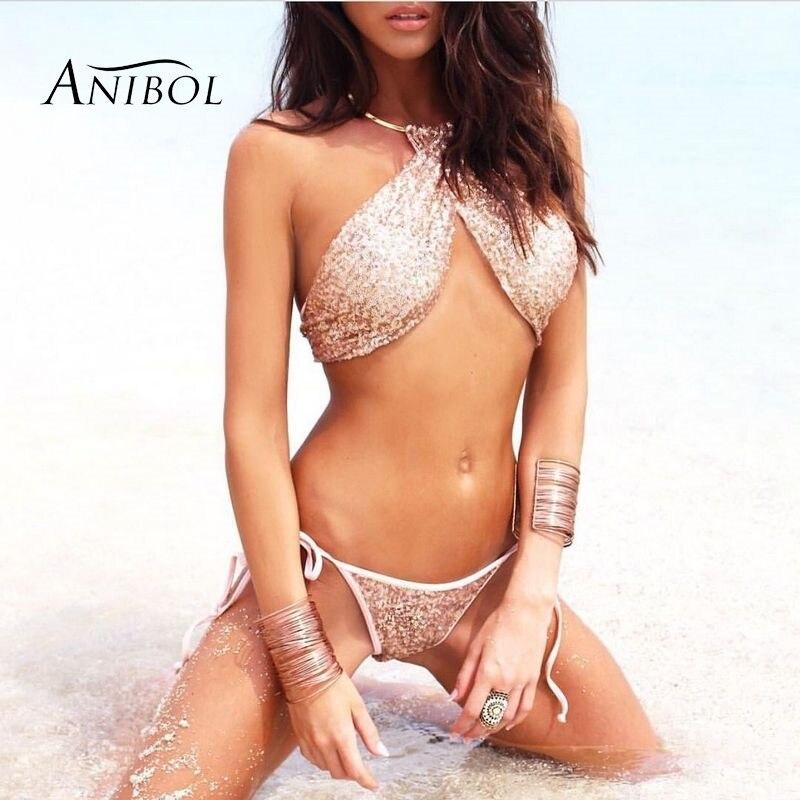 Anibol 2017 Sexy Gold Sequin Bikini Low Waist Brazilian Swimsuit Cross Halter Women Swimwear Bandage Thong Bathingsuit Girls