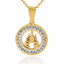 New Fashion Luxury Gold&Silver Color Zircon Crystal Scorpion stainless steel Pendants Necklaces Jewelry For Women  X-977