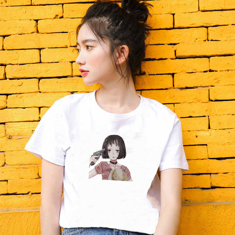 Summer 2019 Women Fashion Casual Harajuku Simple Girl Print Women Tops Shirt Short Sleeve O-Neck Blouse Female White Clothes
