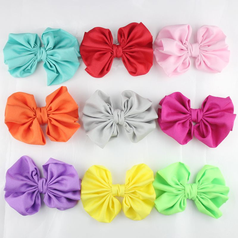 12cm Artificial satin Fabric Flowers bow knot For Girls Dresses and Headbands Hair Accessories