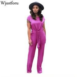 Wjustforu летний бандажный комбинезон для женщин, Модный облегающий комбинезон с широкими штанинами, женский комбинезон с коротким рукавом, пов...