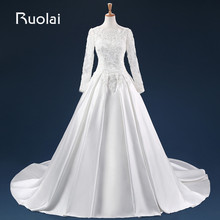 Real Brand New Long Wedding Dresses Scoop V Back Satin Applqiues Lace Beaded Bodice Bridal Gown For Wedding ASAFN27
