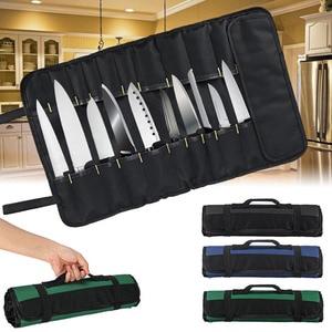 Image 2 - 4 Color Choice Chef Knife Bag Roll Bag Carry Case Bag Kitchen Cooking Portable Durable Storage 22 Pockets Black Blue Green