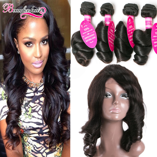 Malaysian Loose Wave With Closure 4 Bundles Loose Wave With Frontal Weave 360 Lace Frontals With Bundles Human Hair With Closure