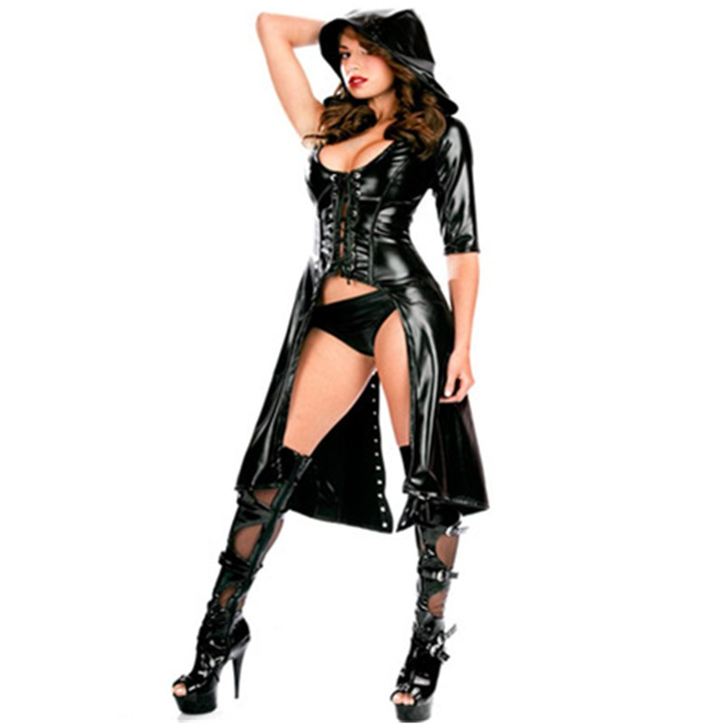 Sexy Club DS  Costume Women Punk Gothic Black Jumpsuit Fetish Dance Jumpsuit Latex Catsuit Erotic Catsuit Faux Leather Bodysuit