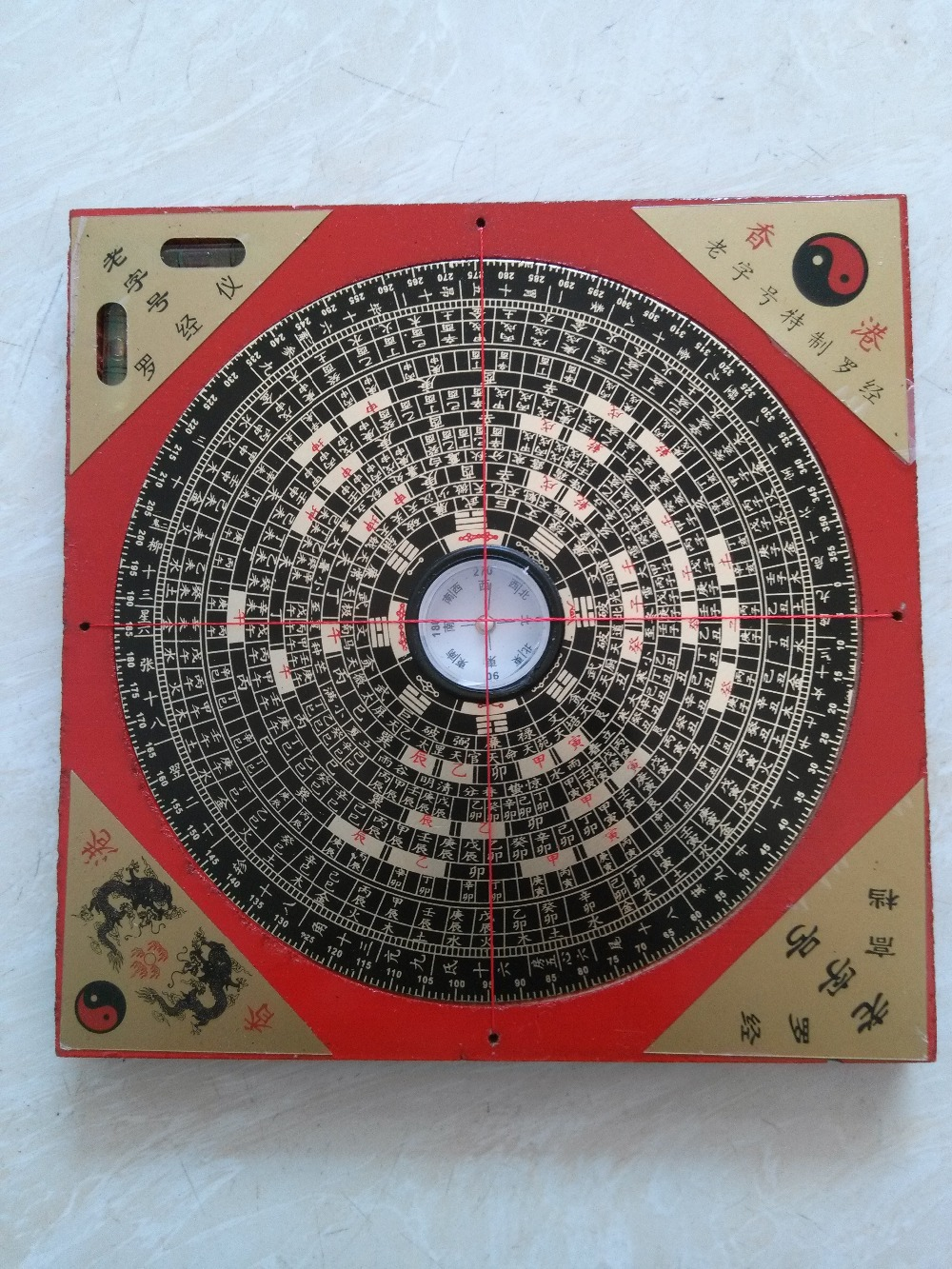 Elaborate chinese ancient feng shui wood square luopan compass metal surface luo jing yi luo - Feng shui babyzimmer ...