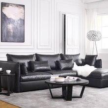 2017 New Bean Bag Chair Beanbag Hot Sale Modern Leather Sofa Set/ Living Room Sectional Sofa/ Italian Design Genuine L Shape