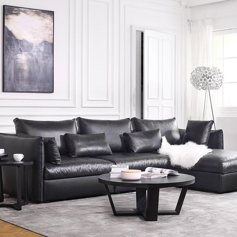 Hot Sale Modern Leather Sofa Set/ Living Room Sectional Sofa/ Italian  Design Genuine Leather Sofa L Shape Sofa