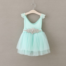 Crystal Sash Toddler Girls Summer Dress Tulle Birthday Party Princess Dress Sleeveless Lace Pearl Decoration Child Dresses
