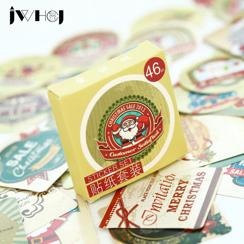 46 pcs JWHCJ Christmas blessing paper sticker decoration DIY diary scrapbooking sealing sticker children's favorite stationery 50 pcs bag santa claus christmas stickers paper sticker decoration diy scrapbooking sticker children s favorite stationery