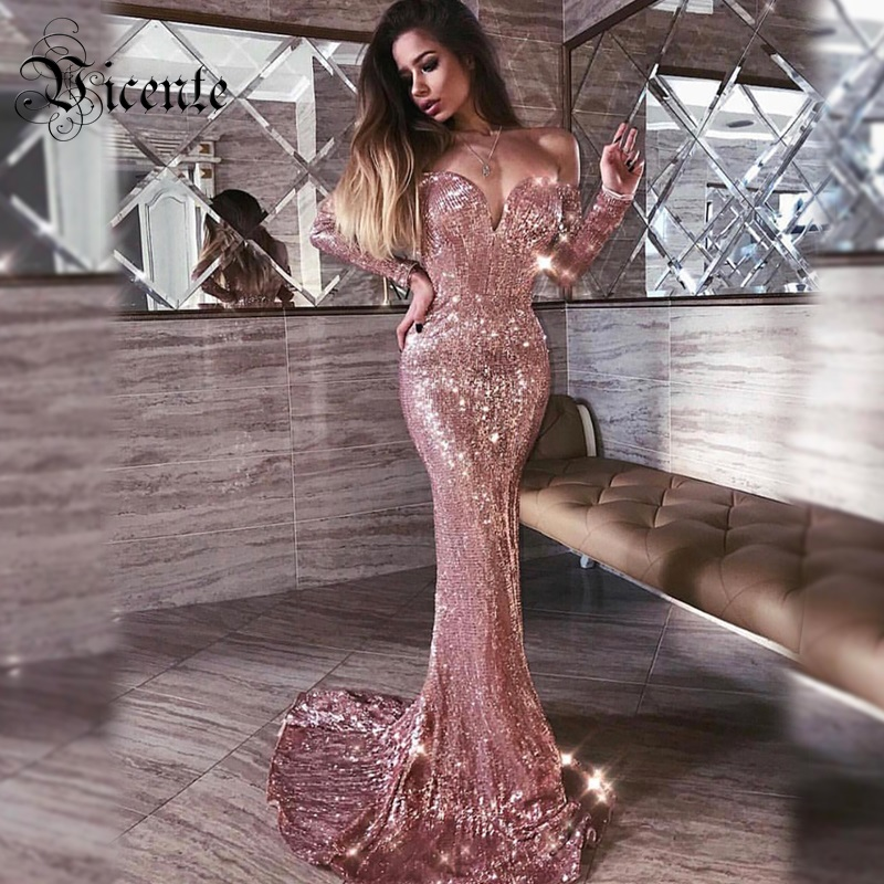 Longue Longues Chic En Bleu Party Off 2019 Celebrity Paillettes marine Manches Or Shoulder Sexy Maxi Vicente Chaude Robe Gros New The qx5F44Iw