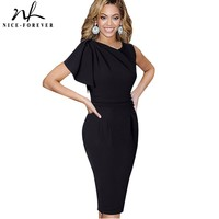 Nice Forever Lady Elegant Ruffle Sleeve Knee Length Work Office Casual Slim Wiggle Pencil Sheath Bodycon